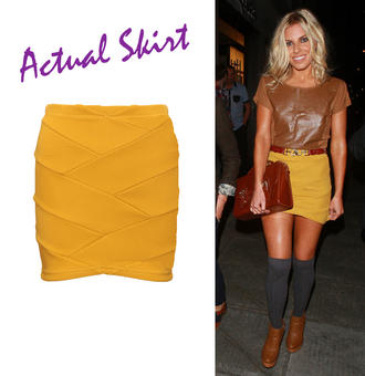 View Item SIZE 14 ONLY Mustard Ribbed Bodycon Skirt